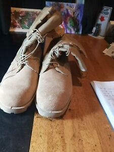 RO SEARCH US Military Combat Boots 14 R Rugged Desert Sand Suede & Fabric