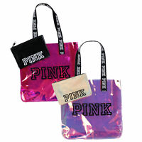 Victoria's Secret Pink Tote Bag Set Chrome Travel Expandable Shopper New Nwt Vs