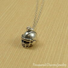 925 Sterling Silver Football Helmet Charm Necklace - Sports Pendant Jewelry NEW