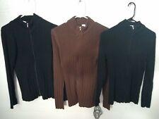 Bobbie Brooks Womens Sz Medium Full Zip Cardigan Brown Black Minimalist Lot of 3