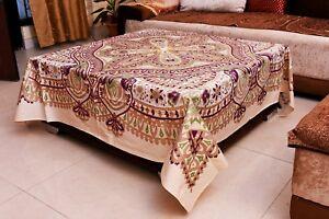 Handmade Jaipur Floral Imprimé 100% Coton Nappe en Terre Carré Vaisselle Art