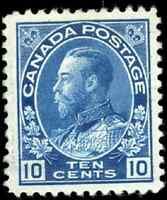 Canada #117 mint VF OG H/DG 1922 King George V 10c blue Admiral CV$80.00