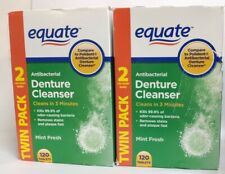 Equate Antibacterial Denture Cleanser, Mint Fresh, TWIN PACK, 240 Tablets