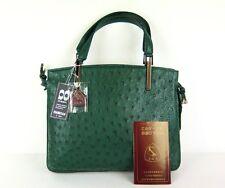 100%Genuine Ostrich Leather Hand Bag Green JRA W/Dust Bag