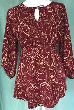 Motherhood Maternity Womens sz Medium Top Red Print Keyhole Neck Tie Back L/S