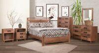 Amish 5-Pc Bedroom Set Mid-Century Modern Solid Walnut Wood Queen King