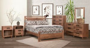Amish 5-Pc Bedroom Set Mid-Century Modern Solid Walnut Wood Queen King