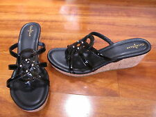 NEW Cole Haan Shayla Thong Black Patent Wedge Sandals Womens 11 M $150.