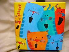 "Cat Art 2012 ""Supper Song"" K. Williams Canvas Cats Kittens"