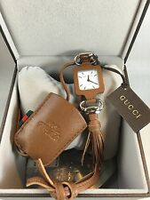 NWT AUTHENTIC GUCCI 1921 COLLECTION PENDANT WATCH STEEL & LEATHER W/RECEIPT!
