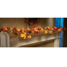 1.8M LED Lighted Fall Autumn Pumpkin Maple Leaves Garland Thanksgiving Decor US