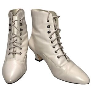Hunters Run Lace Up Granny Boots Ivory Leather 8.5 Ankle Prairie Cottagecore