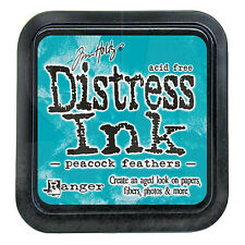 Tim Holtz Distress Ink Pad Full Size Peacock Feathers Blue, Aqua