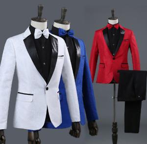 Mens One Button Wedding Nightclub Soild Color 2PCS Business Casual Suit Slim Fit