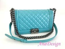 2a242fa5aa1f Chanel Boy Medium Blue Lambskin Crossbody Messenger Bag RHW w Authenticity  Cert