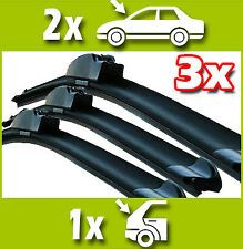 3 x Front and Rear Flat Windscreen Wiper Blades Specific Fit for Renault