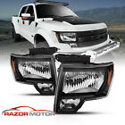 For 2009-2014 Ford F150 Black OEM Factory Style Lens Headlights Left Right Pair