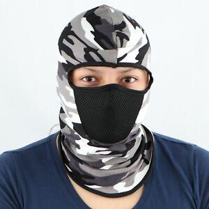 Full Face Mask Hat Neck Cover Balaclava Windproof Black & White Camo Design