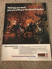 Vintage 1974 HARLEY DAVIDSON SS-350 SX-350 MOTORCYCLE Print Ad 1970s RARE
