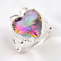 Mother's Day Gift Natural Rainbow Mystical Topaz Gemstone Silver Ring Sz 7 8 9