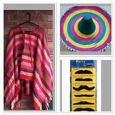 Mens Mexican Poncho And Sombrero Hat Wild West Cow Boy Adult Bandit  Dress Up