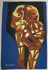 Vintage Oswaldo Guayasamin Ternura Ecuador Art Cubist 4.5 x 7 in Relief 3D