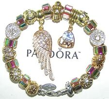 Authentic PANDORA Silver Bracelet With RAINBOW GOLD ANGEL LOVE European Charms
