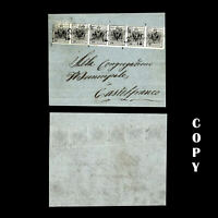 AUSTRIA Lombardy Venetia 1850 10c black, horizontal strip of 6, COPY