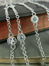 """Judith Ripka Sterling JR Initial & Blue Stone Station Toggle Necklace 36"""" Long"""