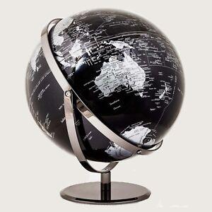 STUNNING HIGH QUALITY Double Axle World Globe Black Chrome Home Decor Gift 30cm