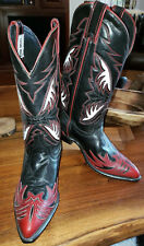 NEW Vtg CODE WEST Ladies 7.5 Black Red White Leather  Inlay Western Cowboy Boots