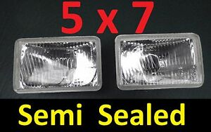 1pr 5x7 Semi Sealed H4 Lights for and to fit Nissan MK Patrol