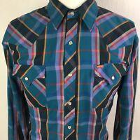 Vtg Ely Plains Men's Western Shirt Long Sleeve Pearl Snap Size 17-34