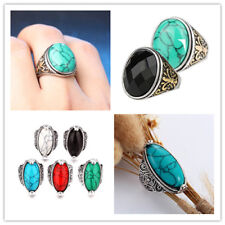 HOT Vintage Men Women 925 Silver Turquoise Gem Wedding Jewelry Ring Size 7-10 #