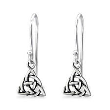 925 Sterling Silver Triangle Celtic Knot Ceilidh Dangle Earrings & Gift Bag #4