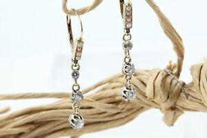 Antike Ohrringe 0,64 ct. Diamant Gold 585 Gelbgold 14 K Flussperle 36 mm