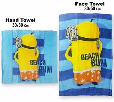 Boys Minions Beach Bum Hand Face Towel Set 820-574
