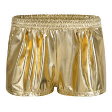 Womens Gym Yoga Shorts Metallic Leather Sports Fitness Stretch Hot Pants Mini
