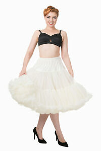 Ivory 50's Rockabilly Retro Super Soft 26 inches Petticoat Skirt BANNED Apparel