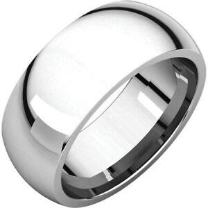 8mm Solid Platinum 950 Plain Dome Half Round Comfort Fit Wedding Band Size 9