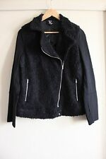 Rockmans Black Sherpa Boucle Motorcycle Biker Style Jacket Size 12 Like New