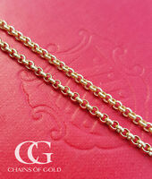 """Solid 9ct Yellow Gold Unisex Belcher Chain 2.2mm Necklace 20"""" 22"""" 24"""""""