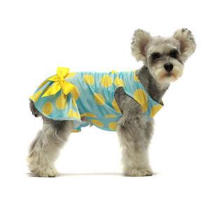 Fitwarm Lemon Summer Dog Dress Puppy Clothes Doggie Sundress Pet Vest Cat Shirt