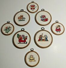 (8) Vintage Needlepoint Christmas Hoop Decorations - Angels, Nativity & More
