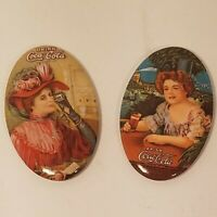 Vintage 1980s Coca Cola Pocket Mirrors Set of 2 Coke Gibson Girls Advertising