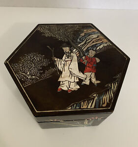 Vintage Trinket Box Black Lacquer Octagon Hand Painted China 6.25x6.25x3