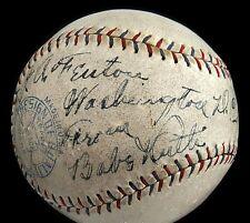"1928 Babe Ruth (""8"" strength)  & Lou Gehrig (""5"") Signed Baseball - Full JSA"
