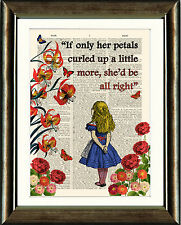 Antique book page art imprimé-alice in the garden of live fleurs wall art