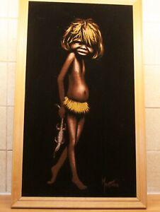 Vintage Original Australian Aboriginal Painting Signed MARTINUS Boy with Geko