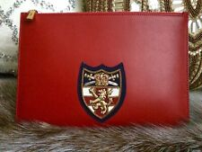 RALPH LAUREN RED CLUTCH, LARGE PURSE,HAND EMBROIDERED CREST PATCH,EQUESTRIAN